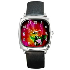 Awesome F?owers With Glowing Lines Square Metal Watches