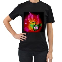 Awesome F?owers With Glowing Lines Women s T-Shirt (Black) (Two Sided)