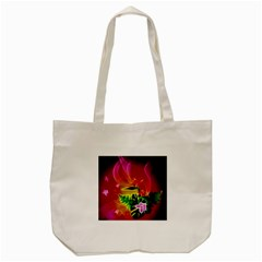 Awesome F?owers With Glowing Lines Tote Bag (Cream)