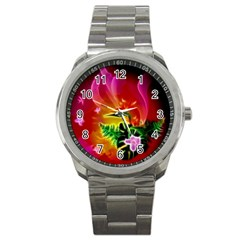 Awesome F?owers With Glowing Lines Sport Metal Watches