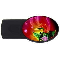 Awesome F?owers With Glowing Lines USB Flash Drive Oval (4 GB)