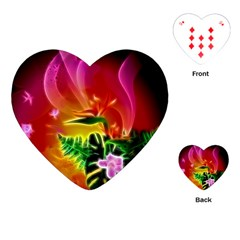 Awesome F?owers With Glowing Lines Playing Cards (Heart)