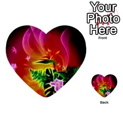 Awesome F?owers With Glowing Lines Multi Purpose Cards (heart)
