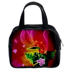 Awesome F?owers With Glowing Lines Classic Handbags (2 Sides)