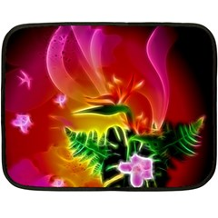 Awesome F?owers With Glowing Lines Fleece Blanket (Mini)