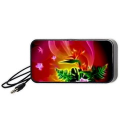 Awesome F?owers With Glowing Lines Portable Speaker (Black)