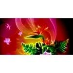 Awesome F?owers With Glowing Lines #1 DAD 3D Greeting Card (8x4)  Front