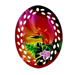 Awesome F?owers With Glowing Lines Oval Filigree Ornament (2-Side)