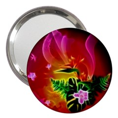 Awesome F?owers With Glowing Lines 3  Handbag Mirrors