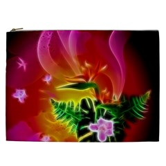 Awesome F?owers With Glowing Lines Cosmetic Bag (XXL)