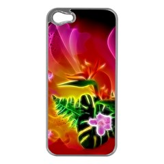 Awesome F?owers With Glowing Lines Apple iPhone 5 Case (Silver)