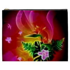 Awesome F?owers With Glowing Lines Cosmetic Bag (XXXL)