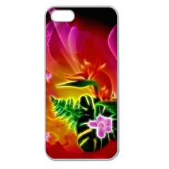 Awesome F?owers With Glowing Lines Apple Seamless iPhone 5 Case (Clear)