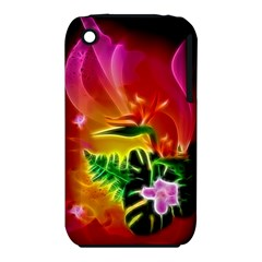 Awesome F?owers With Glowing Lines Apple iPhone 3G/3GS Hardshell Case (PC+Silicone)