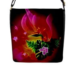 Awesome F?owers With Glowing Lines Flap Messenger Bag (L)