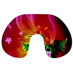 Awesome F?owers With Glowing Lines Travel Neck Pillows