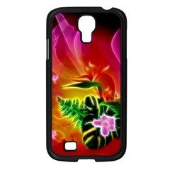 Awesome F?owers With Glowing Lines Samsung Galaxy S4 I9500/ I9505 Case (Black)