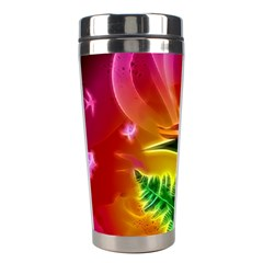 Awesome F?owers With Glowing Lines Stainless Steel Travel Tumblers