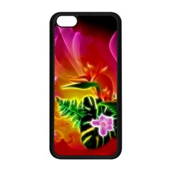 Awesome F?owers With Glowing Lines Apple iPhone 5C Seamless Case (Black)