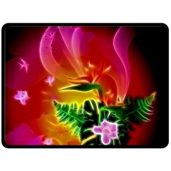 Awesome F?owers With Glowing Lines Double Sided Fleece Blanket (large)