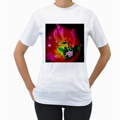 Awesome F?owers With Glowing Lines Women s T-Shirt (White)