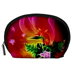 Awesome F?owers With Glowing Lines Accessory Pouches (Large)