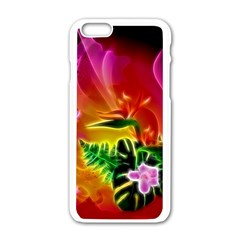 Awesome F?owers With Glowing Lines Apple iPhone 6/6S White Enamel Case