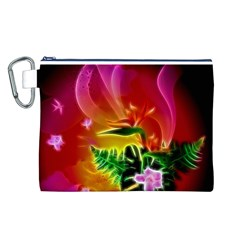 Awesome F?owers With Glowing Lines Canvas Cosmetic Bag (l)