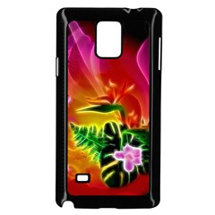 Awesome F?owers With Glowing Lines Samsung Galaxy Note 4 Case (Black)