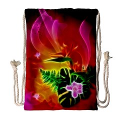 Awesome F?owers With Glowing Lines Drawstring Bag (Large)
