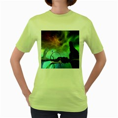 Fantasy Landscape With Lamp Boat And Awesome Sky Women s Green T-Shirt