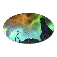 Fantasy Landscape With Lamp Boat And Awesome Sky Oval Magnet