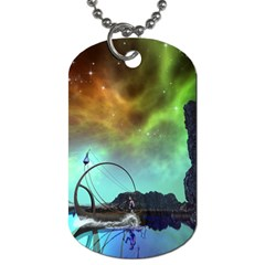 Fantasy Landscape With Lamp Boat And Awesome Sky Dog Tag (One Side)