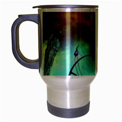 Fantasy Landscape With Lamp Boat And Awesome Sky Travel Mug (Silver Gray)