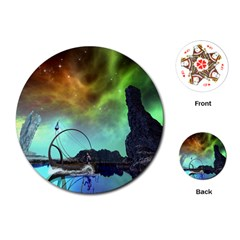 Fantasy Landscape With Lamp Boat And Awesome Sky Playing Cards (Round)