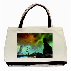 Fantasy Landscape With Lamp Boat And Awesome Sky Basic Tote Bag