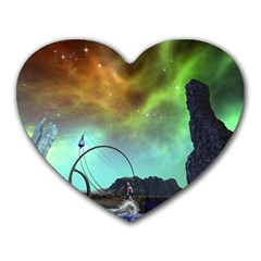 Fantasy Landscape With Lamp Boat And Awesome Sky Heart Mousepads
