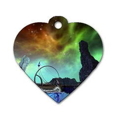 Fantasy Landscape With Lamp Boat And Awesome Sky Dog Tag Heart (Two Sides)