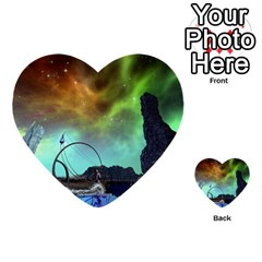 Fantasy Landscape With Lamp Boat And Awesome Sky Multi-purpose Cards (Heart)