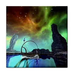 Fantasy Landscape With Lamp Boat And Awesome Sky Face Towel