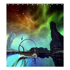 Fantasy Landscape With Lamp Boat And Awesome Sky Shower Curtain 66  X 72  (large)
