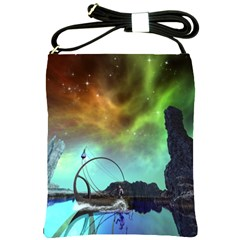 Fantasy Landscape With Lamp Boat And Awesome Sky Shoulder Sling Bags