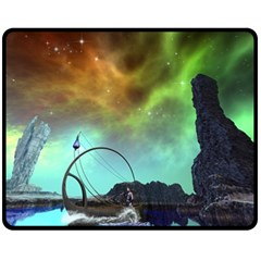 Fantasy Landscape With Lamp Boat And Awesome Sky Fleece Blanket (Medium)