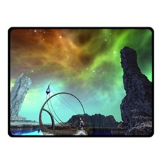 Fantasy Landscape With Lamp Boat And Awesome Sky Fleece Blanket (small)