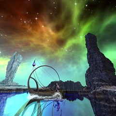 Fantasy Landscape With Lamp Boat And Awesome Sky Magic Photo Cubes