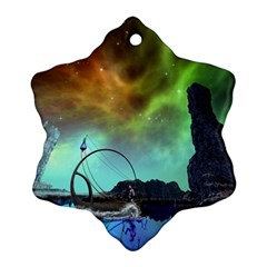 Fantasy Landscape With Lamp Boat And Awesome Sky Snowflake Ornament (2 Side)