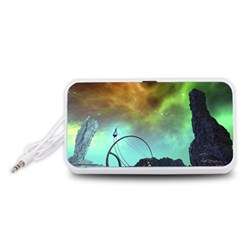 Fantasy Landscape With Lamp Boat And Awesome Sky Portable Speaker (White)