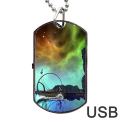 Fantasy Landscape With Lamp Boat And Awesome Sky Dog Tag Usb Flash (two Sides)