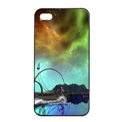 Fantasy Landscape With Lamp Boat And Awesome Sky Apple iPhone 4/4s Seamless Case (Black)