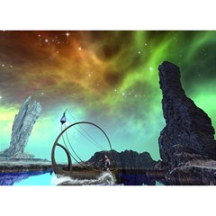 Fantasy Landscape With Lamp Boat And Awesome Sky Birthday Cake 3D Greeting Card (7x5)